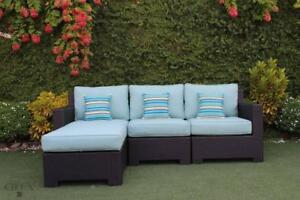 Patio Furniture Clearance in Canada! Provence Outdoor Sectional Sofa with Ottoman by Cieux! Thick, Sunbrella Cushions!