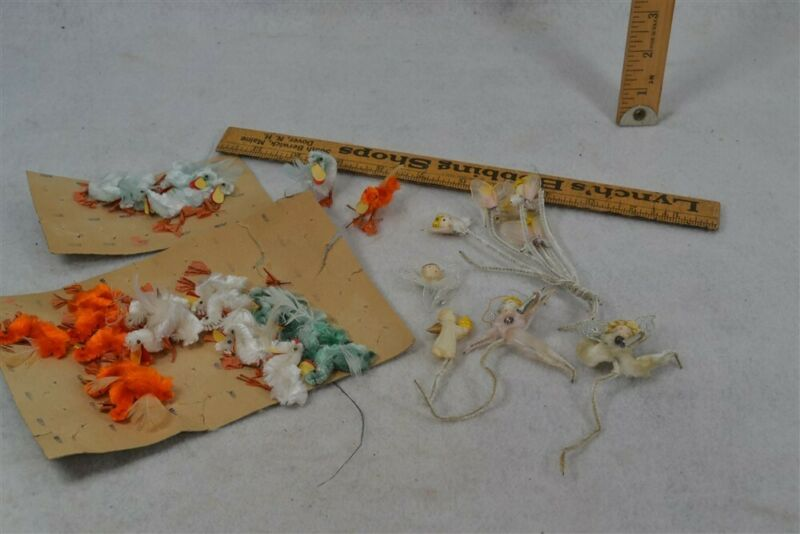 antique chenille ducks angels wire feet 1 in. 34 pieces vintage ornaments 1940
