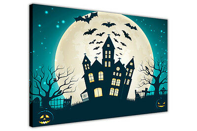 HALLOWEEN DECORATION FULL MOON CANVAS WALL ART PRINTS KIDS PICTURES POSTERS - Halloween Art Kids