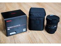 Sigma 10-20 mm F3.5 EX DC HSM Lens, for Nikon AF D, as new condition.