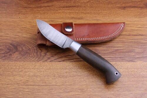 STEVE MULLIN HANDMADE DAMASCUS HUNTING KNIFE. PACK RIVER KNIFE CO. W/ SHEATH