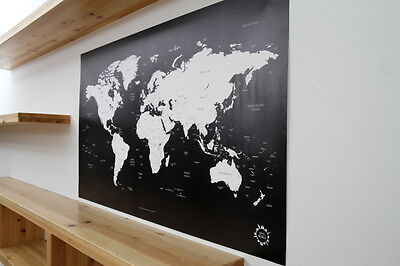 BG Black and White World Map Poster