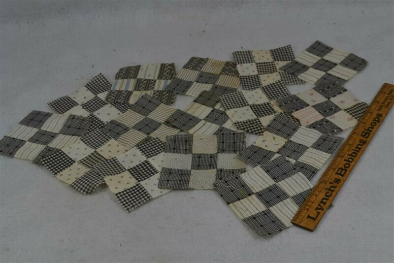 old early period caliso quilt blocks 15 postage stamps cotton 4x4 in 19th c 1800
