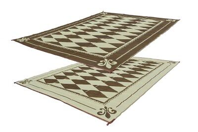 RV Patio Mat Motorhome Awning Mat Outdoor Reversible Regal Diamond 9x12 w/ Bag