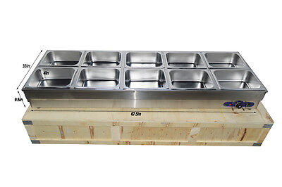 10-pan Hot Well Steam Table Food Warmer Restaurant Stainless Steel 10panslids