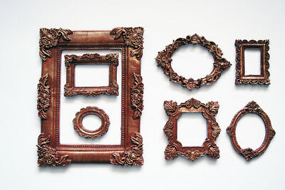 Photo Frame Set of 7 Decorative Oval and Square Brown Frames Gold Patina