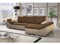 "Corner sofa bed sofa bed UK STOCK 1-5 DAY DELIVERY""Lugano""Brown"