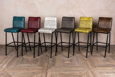 INDUSTRIAL LOOK BAR STOOLS MODERN SEATING RIBBED LEATHER LOOK STOOL MORE COLOURS