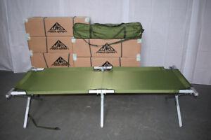 British Army - Military - Heavy Duty Aluminium Frame Folding Camp Cot Bed - NEW