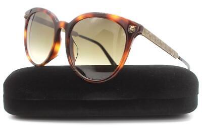 Gucci GG0224SK Sunglasses Havana Antique Gold Black 005 Authentic 56mm