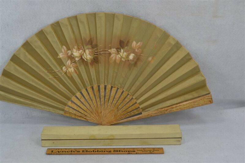 antique hand fan hand painted gold silk roses 25 in. with box original 19thc