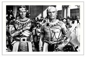 CHARLTON HESTON + YUL BRYNNER THE TEN COMMANDMENTS SIGNED PHOTO PRINT AUTOGRAPH