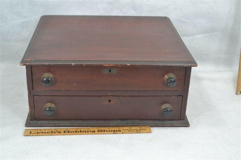 sewing thread box store drawers display walnut antique vintage original 1890