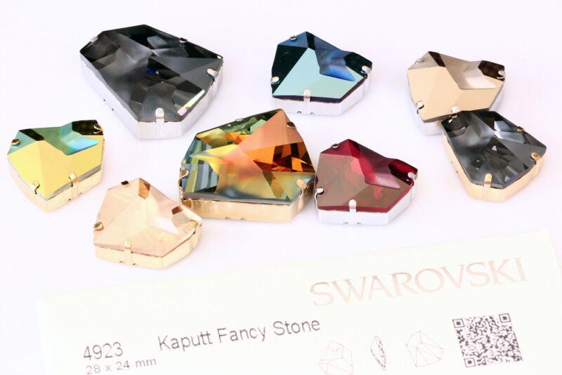 Genuine SWAROVSKI 4923 Kaputt Fancy Crystals with Sew On Metal Settings