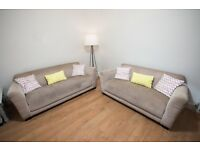 2 & 3 Seat DFS Grey fabric sofa. Used, needs cleaned.