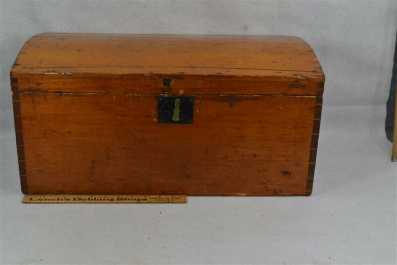 early old dome top trunk box natural 22 x 12 x 10 dovetailed 19th c original