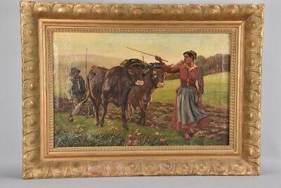 s3v25- Gemälde Bauernpaar mit Ochsenpflug, Münchener Maler, um 1900