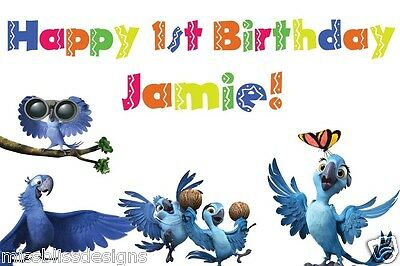 Custom XLarge Full Color Blu Jewel Parrot Rio 2 Birthday Party Banner - Rio Party Supplies