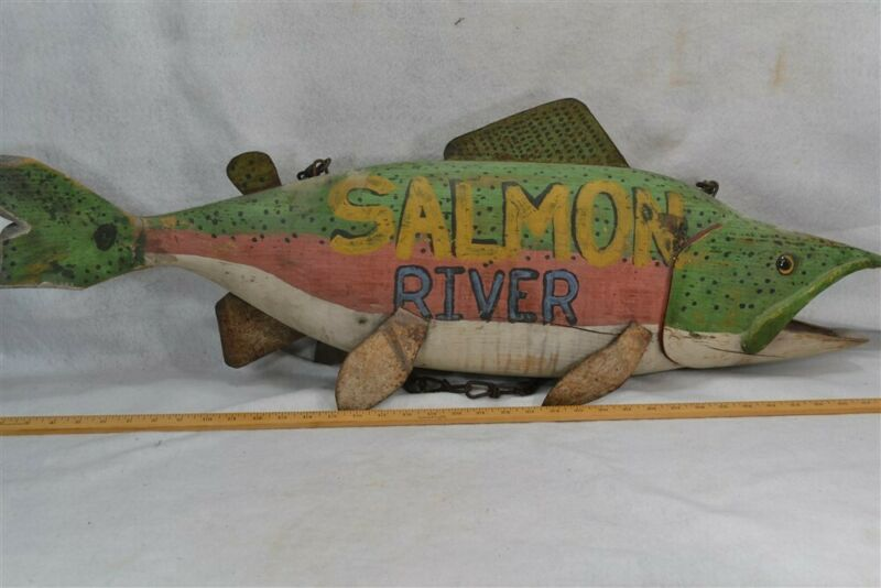 antique fish salmon sign full body hand carved wood paint advertising original