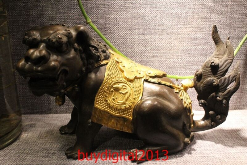 Marked China Bronze 24K Gold Lucky Foo Dogs Dragon Lion Kylin animal Statue