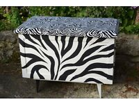 Retro up-cycled blanket storage chest toy box with padded seat top, Zebra stripe design by seller.