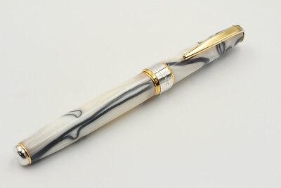 Solid Silver Glacier Pen Stunning Resin B Nib Black Ink Waterman Cartridges