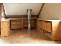 Large set of solid wooden office shelving. Beautiful worktops. Pine shelving. Loads more. Bargain!
