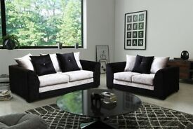 BRAND NEW THE CRUSHED VELVET 3+2 SOFA BLACK AND SILVER FAST DELIVERY