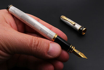 Solid Silver Wickerwork Fountain Pen Broad Nib Black Ink Waterman Cartridge