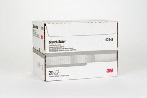 """1 Box of 20 Each 3M Scotch-Brite 7448 Ultra Fine 6""""x9"""" Hand Pad 04028"""
