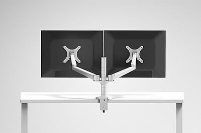 """Double Arm Desk Mount - ThingyClub Double Adjustable Arm Monitor Mount for 10-27"""" Dual Screen Desk Stand"""