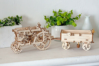 3D Holzpuzzle-SET TRAKTOR mit ANHÄNGER mechanisches Baukasten ORIGINAL UGEARS