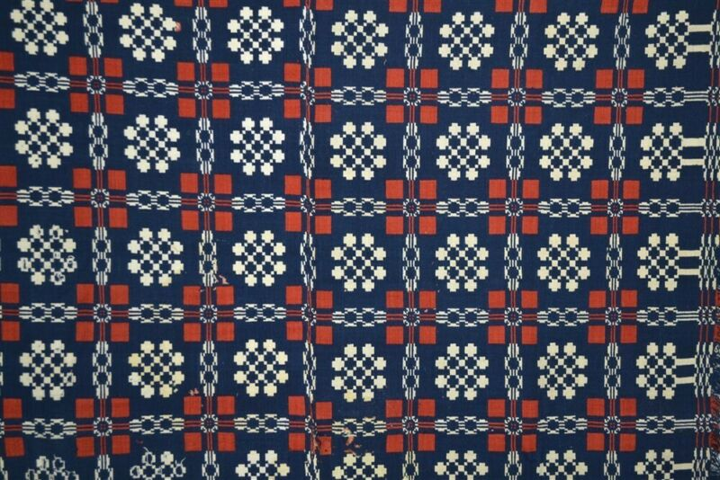 early period coverlet wool red white blue double weave 68x95 19th 1850 vg