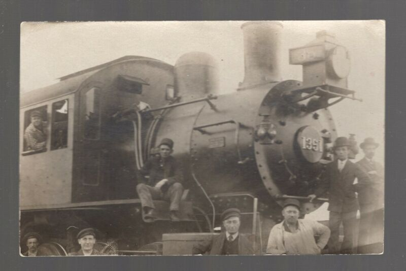 Railroad Postcard:  Locomotive No. 1351 with Crew & Others - Real Picture