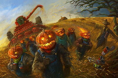 Halloween party wall decor Pumpkin blame catcher Oil painting Printed on - Pumpkin Painting Party
