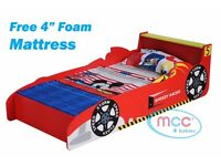 Boys Racing Car Bed With Mattress
