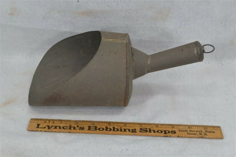 tin scoop grain general store large hand made original 19th c antique vg