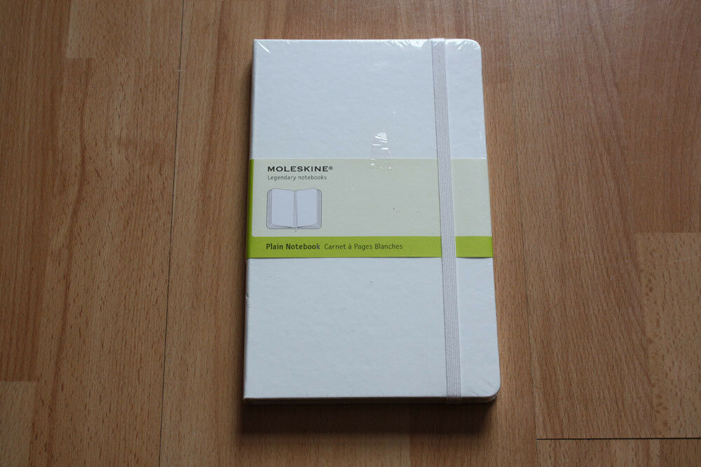 Moleskine White Notebook, Medium Size (circa A5), Blank pages (no lines), brand new