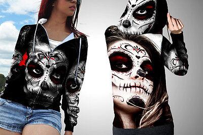 New Sugar Skull Makeup Image Fullprinted Women Zipper Hoodie S-3XL