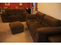 2 matching sofas and footstool