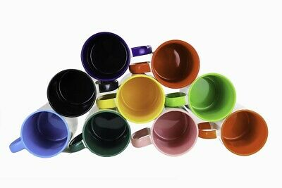 Sublimation Mugs 11oz Coloured Inner, Rim & Handle for Heat Transfer x 36