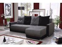 "Corner sofa bed sofa bed UK STOCK 1-5 DAY DELIVERY ""Verona"" grey black"