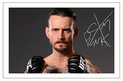 CM PUNK WWE WRESTLING SIGNED PHOTO PRINT AUTOGRAPH
