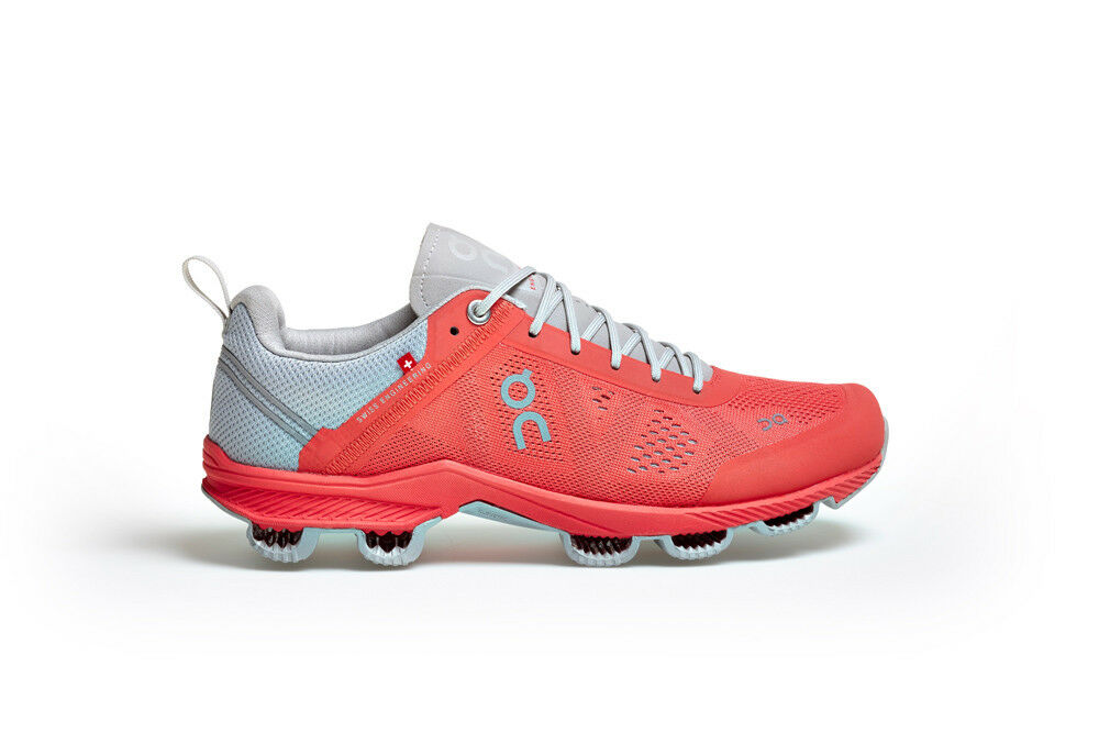 73cc9f1618e552 On Running Cloudsurfer Lava Glacier Damen Laufschuhe Running Schuhe Rot  Grau Neu