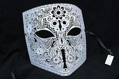 Herren Weiß Bauta Venezianische Maskenball-Maske Metall Filigran Kostüm - Venezianischer Casanova Kostüm