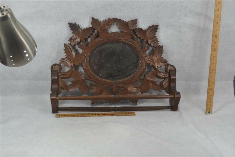 antique towel bar mirror carved walnut kitchen bathroom original 1890