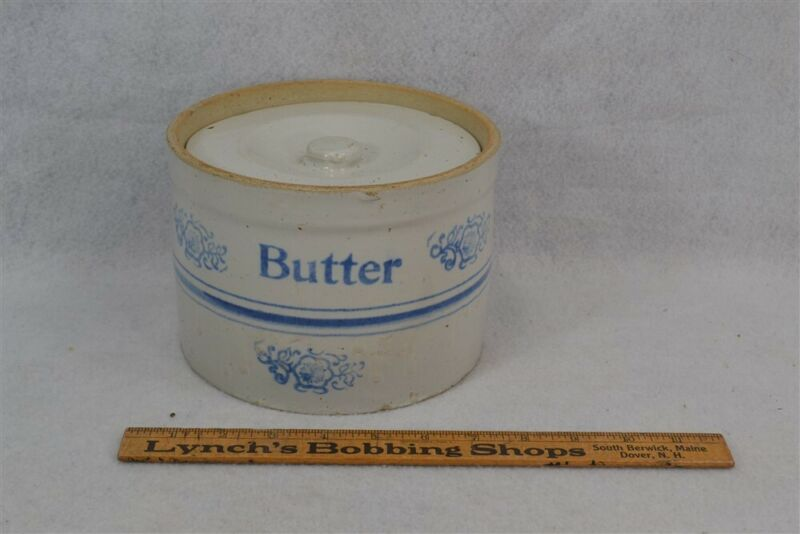 antique butter crock stoneware blue white 7 in. w/lid kitchen 19th original 1800