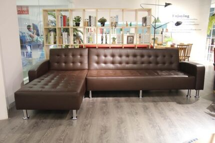 Florence Faux Leather Sofa Bed With A Reverseable Chaise