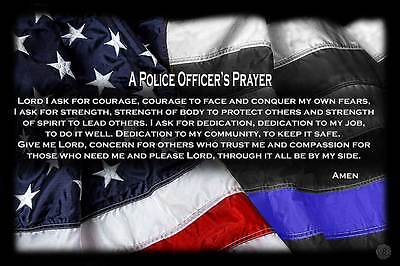 """Two """"A Police Officer's Prayer"""" Red White Blue with Blue Line Flag 11x17 Posters"""