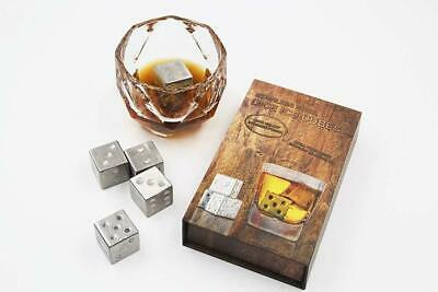Stainless Steel Reusable Ice Cube Stones Dice Shape Whiskey Stones Gift Set (Dice Cube Shape)